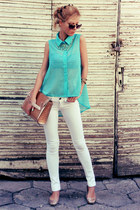 turquoise blue shirt - white jeans - tan bag - gold flats
