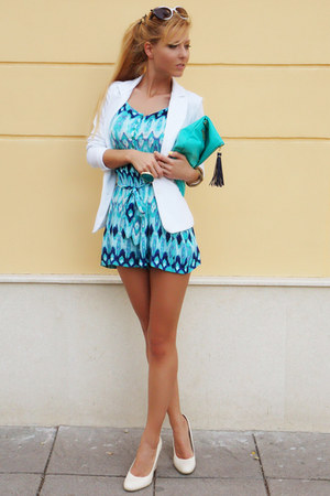 white blazer - turquoise blue bag - navy jumper - ivory wedges - teal ring
