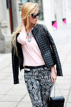 light pink necklace - black jacket - light pink shirt - black bag - black heels