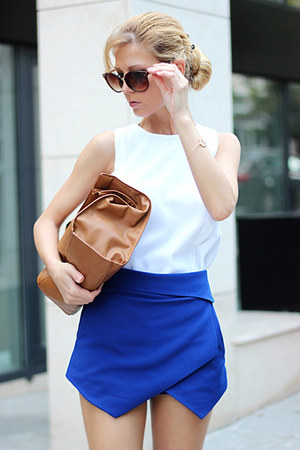 brown Zara bag - blue origami Zara shorts - white Choies blouse