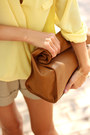 Dark-brown-bag-camel-shorts-light-yellow-sheinside-blouse
