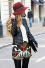 Black-boots-brick-red-hat-black-jacket-white-sweater-brick-red-skirt
