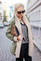 brown bag - black jeans - army green jacket - army green shirt - beige cardigan