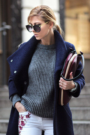 gray ankle boots Choies boots - navy Choies coat - white jeans - gray sweater