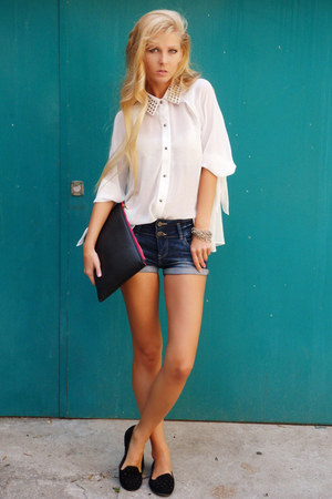 white Queens Wardrobe shirt - black shoes - black Bershka bag - navy shorts