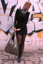 black dress - heather gray shoes - light blue shirt - black tights - silver bag