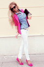Hot-pink-blazer-white-jeans-sky-blue-shirt-black-bag-hot-pink-loafers