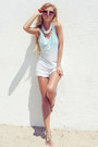 White-shorts-aquamarine-top-beige-sandals