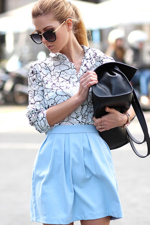 white Choies shirt - black Choies sunglasses - light blue skirt - black flats
