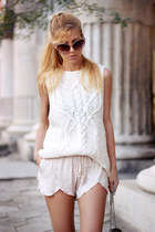 white sweater - black bag - ivory shorts - light pink sandals