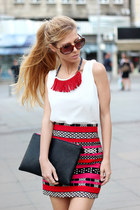 hot pink skirt - black bag - white persun blouse - red necklace - black sandals