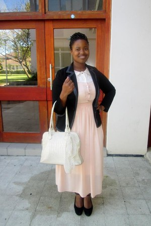vintage dress - truworths blazer - tote bag - maryjanes wedges
