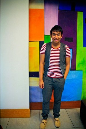 grey H&M vest - sm department store shoes - sailor Topman shirt