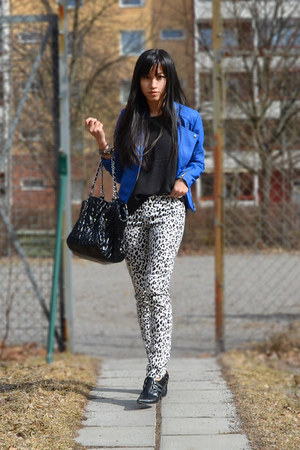 Cubus jacket - leopard panties H&amp;M pants - black top H&amp;M top