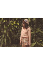 tan hat - light orange floral shorts - peach sheer top - brown belt