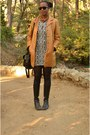Knee-high-thrifted-boots-urban-outfitters-dress-bronze-jacket