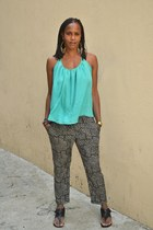 aquamarine racerback Urban Outfitters blouse - black gladiators DSW sandals