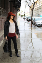 black leather Michael Kors jacket - brick red felt Holland & Sherry hat