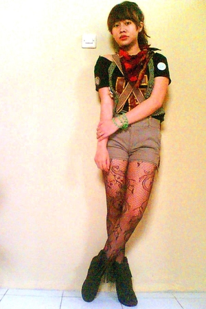 thrifted shirt - vintage vest - - Ebay shorts - Zara boots - American Apparel ti