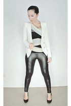 white asos top - white random from Hong Kong blazer - black asos leggings - blac