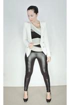 white asos top - white random from Hong Kong blazer - black asos leggings - blac