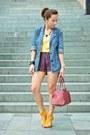 Blue-wet-seal-blazer-red-uo-shorts-mustard-uo-top-mustard-urbanog-heels