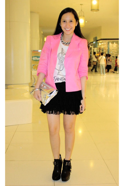 random from Hong Kong blazer - ployy top - sam edelman shoes - balenciaga purse