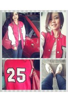 red varsity jacket custom made jacket - white lace up oxfords amanda janes shoes