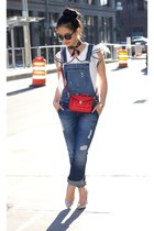 When Denim Meets Chiffon: Overalls & Blouse