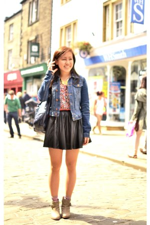 black faux leather Hearts and Bows skirt - blue denim jacket H&M jacket