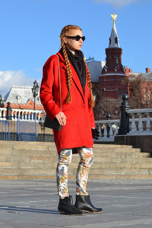 red River Island coat - black asos boots - black Mango bag - beige Zara pants
