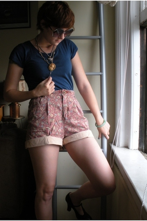 blue Forever 21 shirt - brown t-strap thrift unisa shoes - pink shorts