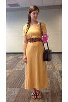 gold Uniqlo dress - brown bag - ruby red beaded sole shoes and accessories belt