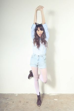 black zozocouture accessories - blue sears blouse - blue shorts - white tights -