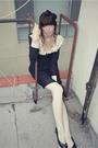 Black-dress-white-american-apparel-stockings-black-shoes-black