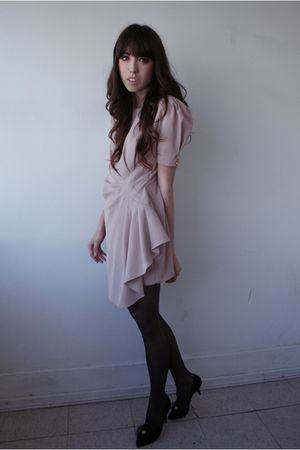 beige some Japanese brand dress - black sears tights - black shoes