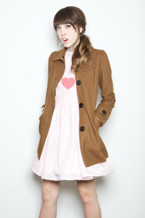 brown Flying Tomato coat - nude platforms Jeffery Campbell shoes