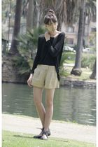 black LAMixx blouse - beige Forever 21 shorts - black Forever 21 shoes