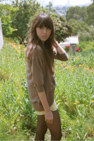 brown LAMixx cardigan - brown LAMixx blouse - yellow shorts - black Forever 21 s
