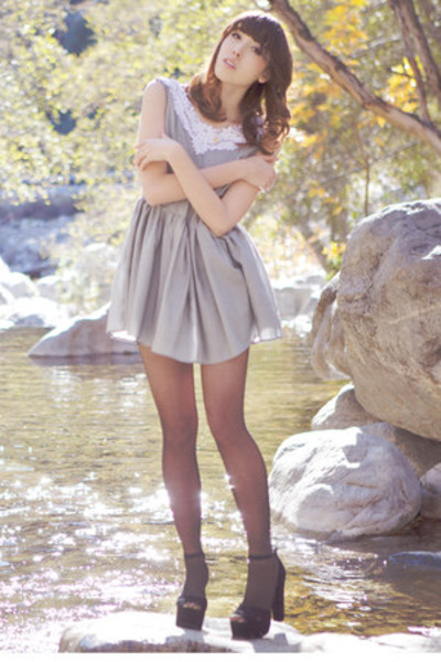 black sheer American Apparel tights - heather gray gingham Johnny and June dress