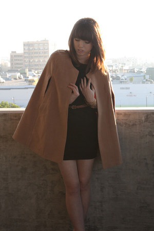 brown vintage belt - black Silence &amp; Noise dress - camel romwe cape