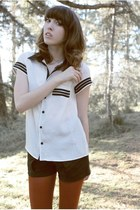 white blackwhite Sugarlips blouse - crimson American Apparel tights