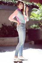 light blue vintage Levis jeans - bubble gum necessary clothing blouse