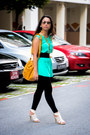 Mustard-bag-aquamarine-top-dark-green-belt