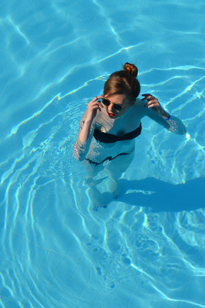 black Ray Ban sunglasses - black Calzedonia swimwear - black H&M swimwear